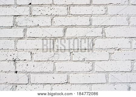 High resolution texture of part of obsolete white brick wall