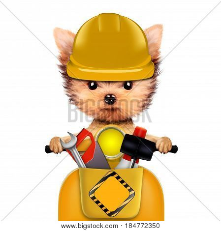 Funny dog with construction tools and scooter isolated on white background. Constructor and handyman concept. 3D illustration