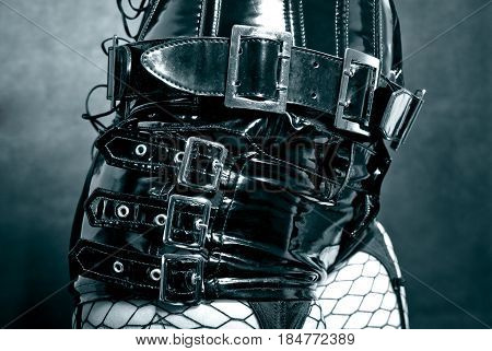 Black Latex Uniform With Metal Buckles