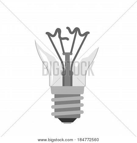 Cartoon lamp electric and bright cartoon interior flat vector broken brainstorming. Idea light bulb electricity design illustration isolated creative invention imagination business creativity.