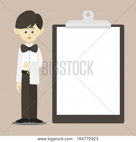 Isolated professional waiter. Male waiter in uniform.