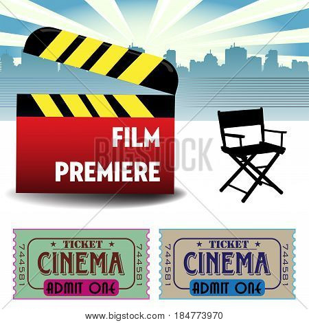 Colorful background with red clapboard, director`s chair and two cinema tickets.