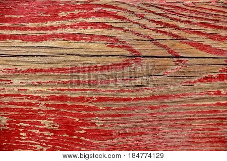 Texture of obsolete damaged dye on weathered wooden surface