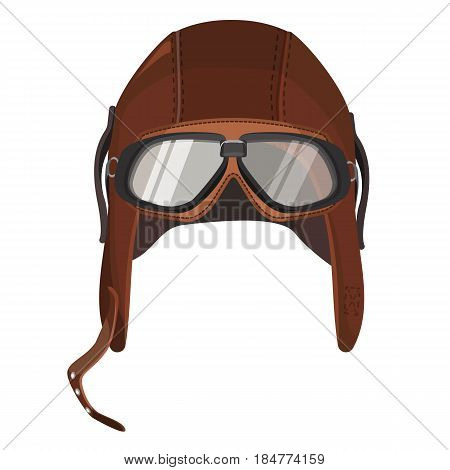 Brown aviator hat with goggles isolated on white. Vector illustration of leather cap with glasses for pilots, equipment for aviation