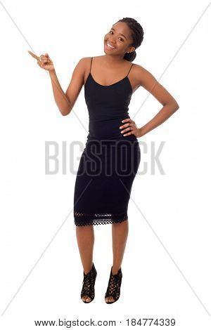Happy african girl full length isolated on white background