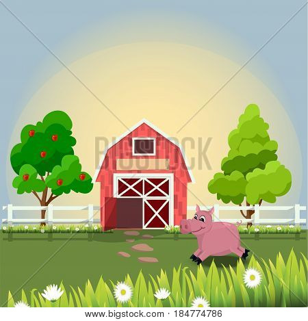 Trendy vector illustration of a cute pink pig on farm with fruit trees and chamomile, Farm animals collection.