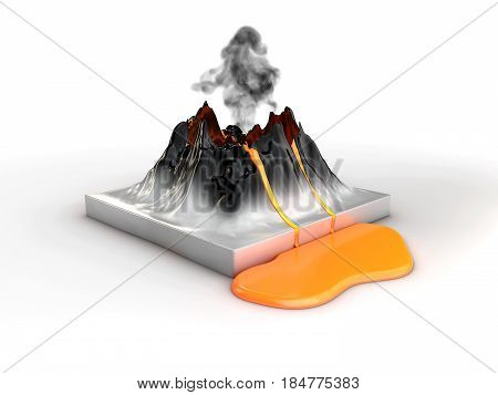 Crater mountain volcano and eruption lava hot natural eruption 3d illustration