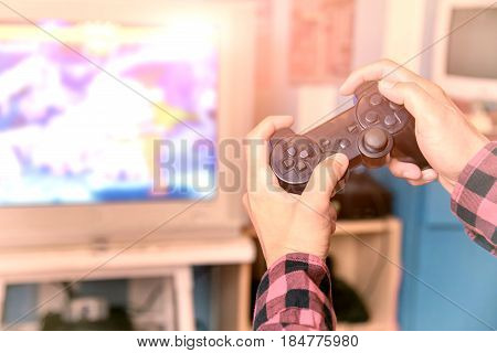 Closeup Of Male  Playing Video Games At Home; Controller Video Console Playing Player Holding.