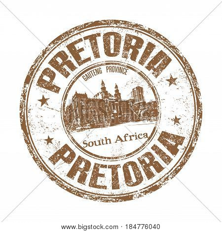 Brown grunge rubber stamp with the name of Pretoria city from South Africa