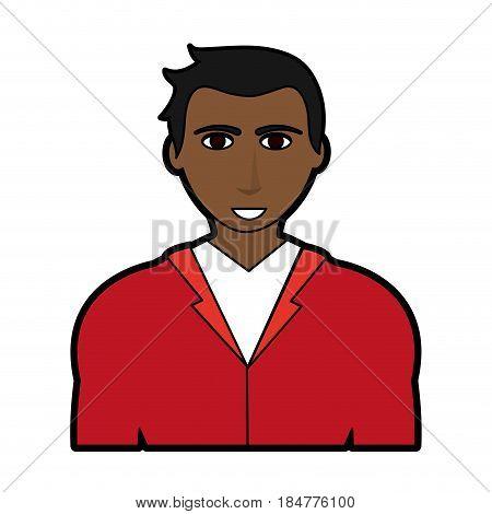 handsome dark skin man with muscular body icon image vector illustration design