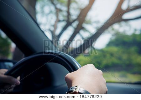 Woman's hands holding on black steering wheel while driving a car with big tree background