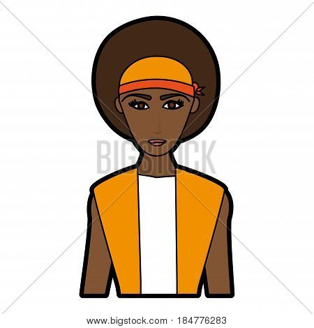 young pretty dark skin woman wearing visor icon image vector illustration design