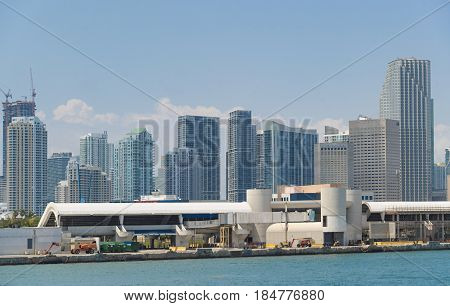 MIAMI,USA-APRIL 28,2017: Miami city skyline buildings in clear blue sky day. Point of view from the Biscayne bay waters which is a major tourism and business landmark.