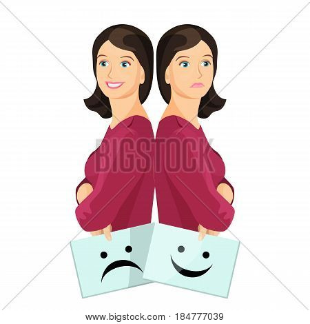 Bipolar woman smiling and upset holding sheets of paper with happy and unhappy smiley vector illustration isolated on white