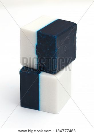 Disinfectants for toilet white and blue cubes.