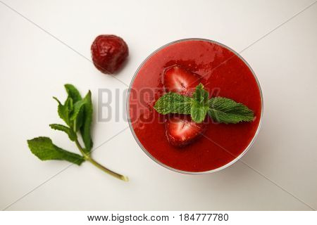 Fresh Strawberry Pudding With Chia Seeds In Small Bowls. Healthy Vegetarian Food On Light Background