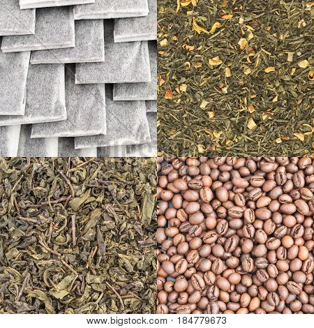 Dry Green Tea Leaves And Coffee Beans Backgrounds