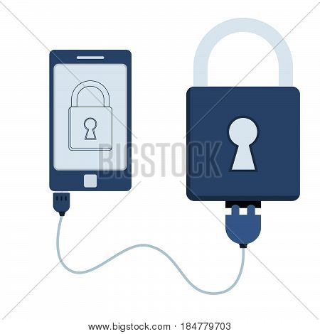 Padlock connected to a cell phone through a usb cable. Outline of the padlock being shown on the mobile monitor. Flat design. Isolated.
