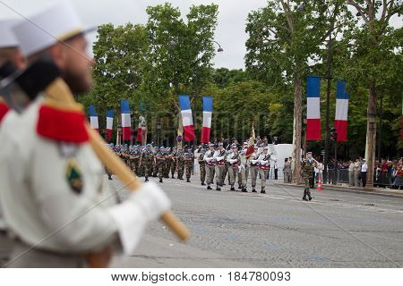 Paris. France. July 14 2012. The ranks of the legionaries of the French foreign legion during parade time on the Champs Elysees in Paris.