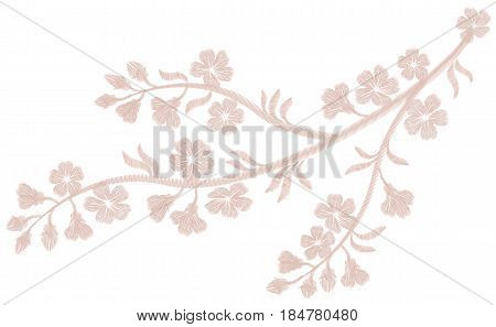Delicate light pink beige flower embroidery. Sakura cherry blossom fashion textile print. Decorative ornate patch necklace vector illustration art