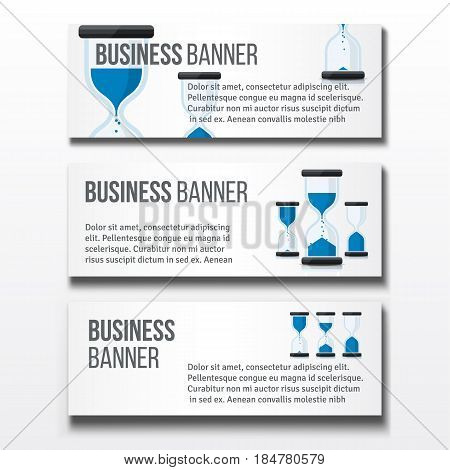 Set of three horizontal business banners templates with sand clocks