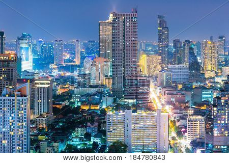 Cityscape view of Bangkok business building in business zone at BangkokThailand. Bangkok is the capital of Thailand and Bangkok is also the most populated city in Thailand.