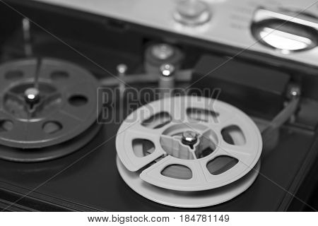 Old tape recorder black and white image