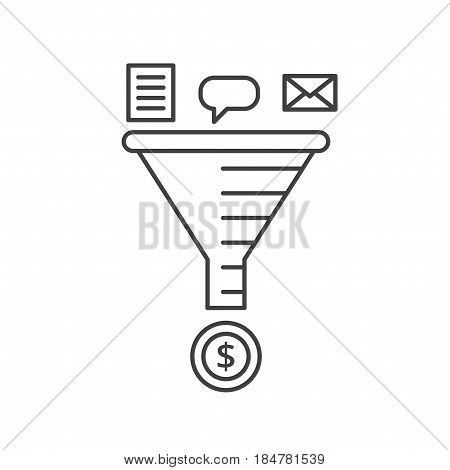 Sale Funnel vector line icon. Email strategy concept.