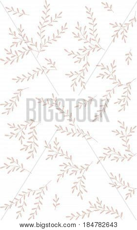 Delicate soft pink wedding branches leaves twigs grass herbs seamless pattern. Embroidery vector flower decoration textile print illustration art