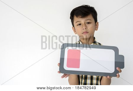 Boy Holding Low Battery Icon Symbol