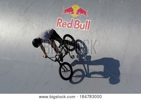 MOSCOW, RUSSIA - JULY 8, 2012: Unidentified athlete in BMX competitions during Adrenalin Games. Adrenalin Games is the major international event in the field of extreme sports