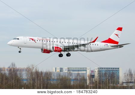 Embraer Austrian Airlines, Airport Pulkovo, Russia Saint-petersburg May 2017.