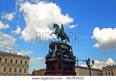 The Monument to Nicholas I, a bronze equestrian monument of Nicholas I of Russia on St Isaac's Square (in front of Saint Isaac's Cathedral) in Saint Petersburg, Russia - June 2016