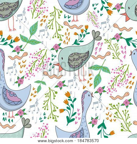 Vector seamless pattern of birds and flowers in cartoonish style