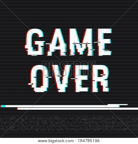 Game Over glitch text. Anaglyph 3D effect. Technological retro background. Vector illustration. Creative web template. Flyer poster layout. Computer program console screen retro arcade.