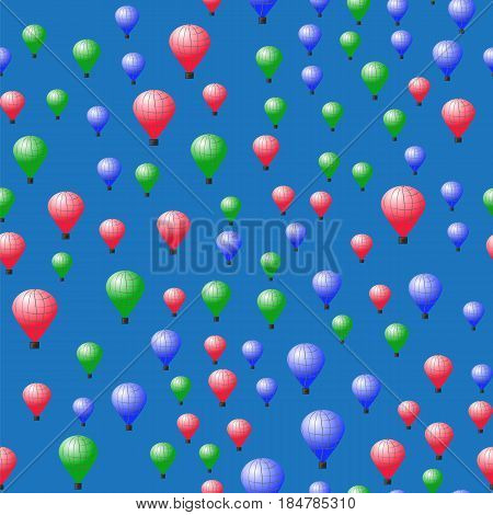 Colored Stratospheric Balloons Seamless Pattern on Blue Background