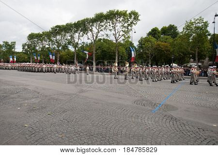 Paris France - July 14 2012. The procession of legionnaires of the French foreign legion during the military parade on the Champs Elysees in Paris.