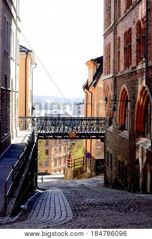 Early Spring morning on a empty backstreet in Sodermalm, Stockholm Sweden