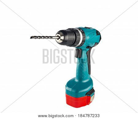 Hand drill on white cordless drill for home use and repair.