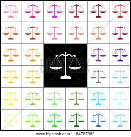 Scales balance sign. Vector. Felt-pen 33 colorful icons at white and black backgrounds. Colorfull.