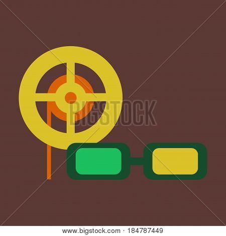 Vector illustration of flat icon 3d cinema