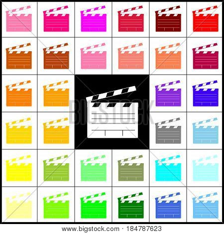 Film clap board cinema sign. Vector. Felt-pen 33 colorful icons at white and black backgrounds. Colorfull.