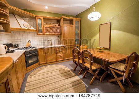 Wood beautiful kitchen interior design. Home indoor
