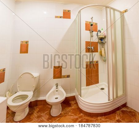 interior of apartment, bathroom with shower. Home
