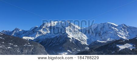 North image of Mont Blanc Massif with the highest European peak.