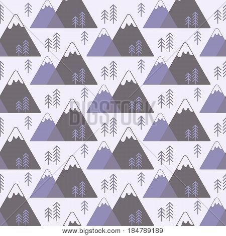 Seamless vector pattern with mountains and pine trees swatch inside