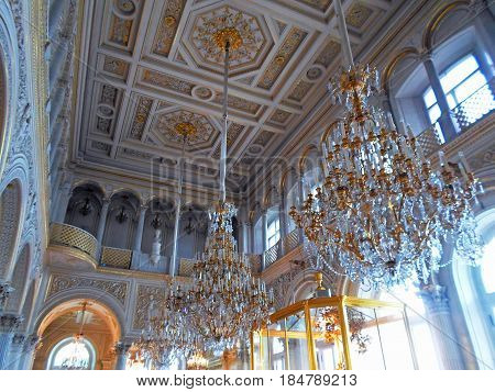 Interior of The State Hermitage Museum or the Winter Palace, a former residence of Russian emperors in Saint Petersburg, Russia - July 2016