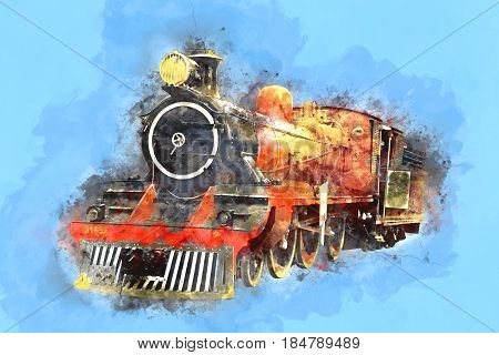 Retro Stream Locomotive Train Railway Engine Painting