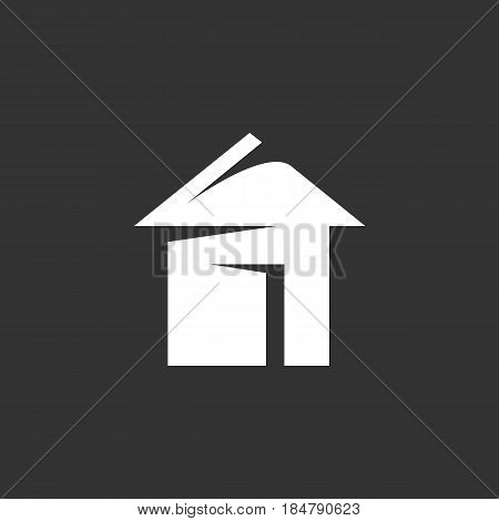 Home vector logo isolated on a black background. Icon silhouette design template. Simple symbol concept in flat style. Abstract sign pictogram for web mobile and infographics