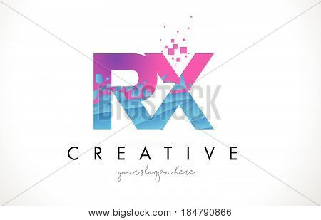 Rx R X Letter Logo With Shattered Broken Blue Pink Texture Design Vector.